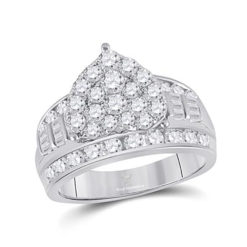 White Gold Diamond Heart Bridal Ring