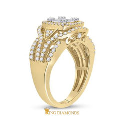 14K Yellow 1ctw White Round Baguette 4